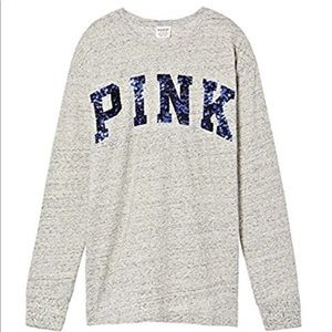 VS Pink Crew-Neck Bling Campus Tee Riverstone